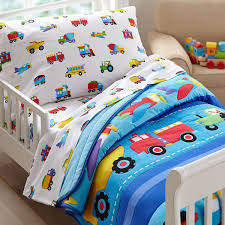 trains airplanes fire trucks toddler boy bedding 4pc bed in a bag