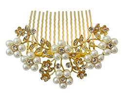 hair accessories online buy vogue hair accessories golden and white pearl comb hair clip