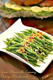 sauteed green beans with lemony chorizo breadcrumbs food done light