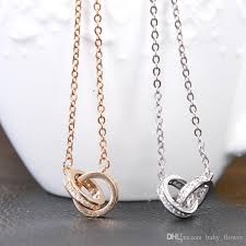 chain ring necklace images Wholesale new women sweater chain double rings pendant necklace jpg