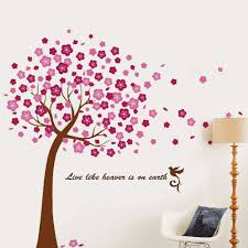 large pink cherry blossom flower tree flowers tree wall decals 2 for 20