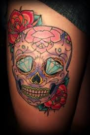 beautiful sugar skull thigh tattoomagz