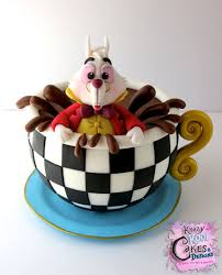 white rabbit in teacup cake topper from alice in wonderland