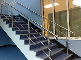 Stair Banister Rails Stainless Steel Hand Rails With Seven Line Steel Guard Rail