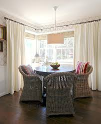 layered window treatments dining room traditional with breakfast