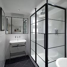 black framed recessed medicine cabinet london shower enclosure ideas bathroom contemporary with black floor