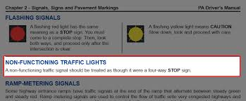 A Flashing Yellow Signal Light Means Dear Pittsburgh Broken Traffic Lights Are Stop Signs In Boring