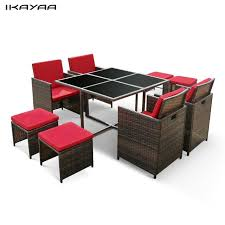 Rattan Patio Dining Set Ikayaa 9pcs Rattan Patio Garden Dining Set Furniture Cushioned