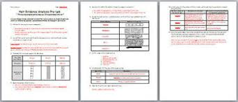 science hair evidence analysis lab activity and pre lab worksheet