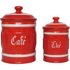 enamel kitchen canisters red ribbed enamel coffee and tea graniteware canisters from france
