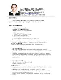 My Objective In Resume Sample Objectives In Resume For Call Center Agent Sample For Jobs