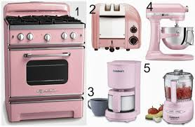 pink kitchen appliances interiors design