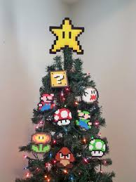 original mario bros perler bead star christmas tree topper
