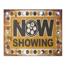 Open Light Up Sign Vintage Marquee Wall Plaque Led Lights Now Showing Light Up Cinema