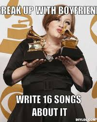 Adele Memes - adele meme generator break up with boyfriend write 16 songs about