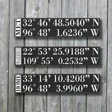 wedding gift signs personalized gps sign gps coordinates tell your story