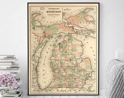 Map Home Decor Michigan Map Etsy