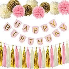 Pink And Yellow Birthday Decorations Amazon Com Birthday Party Pack U2013 Pastel Pink Happy Birthday
