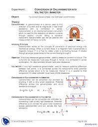 conversion of galvano meter into voltmeter physics lab mannual