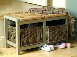 entryway bench with baskets and cushions storage bench benches with baskets dihuniversity for intended