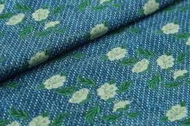 Muster Blau Grün Swafing Jersey Lima Bumen Jeansoptik Blau Gr禺n Blumen Muster