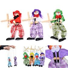 string puppet pull string puppet clown wooden marionette joint activity doll