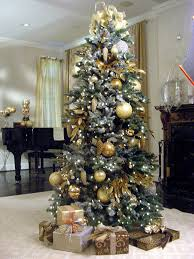 tree decorations gold and silver happy holidays