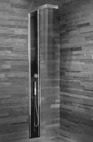 grey bathroom wall with glazed shower areas having stainless steel