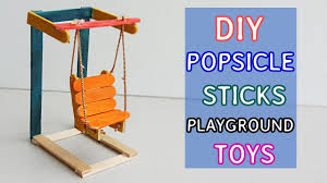 2 mini popsicle sticks playground toys diy swing u0026 cradle youtube