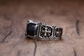 cross rings men images Vintage rings stainless steel red dragon cross ring knight templar jpg
