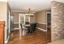 Chair Rails In Dining Room by Traditional Dining Room With French Doors U0026 Interior Brick In