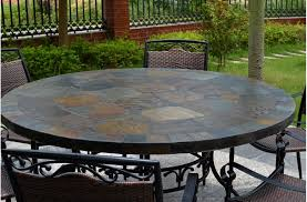 Round Patio Furniture Set 63 Round Slate Outdoor Patio Dining Table Stone Oceane Set 8