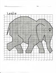 coordinate graph quadrant 1 coordinate graph mystery picture leslie elephant by