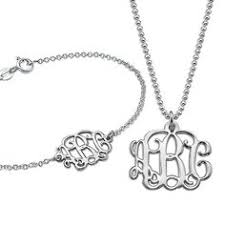3 Initial Monogram Necklace Sterling Silver Sterling Silver Monogram Necklace Sterling Silver Necklaces