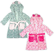 girls leopard hearts print hooded dressing gown with ears toddler