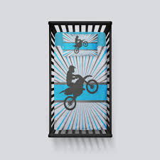 Rock N Roll Crib Bedding by Motocross Baby Crib Bedding In Aqua Blue From Extremely Stoked