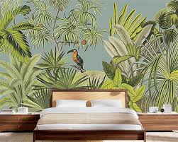 aliexpress com buy beibehang 3d wallpaper retro tropical aliexpress com buy beibehang 3d wallpaper retro tropical rainforest parrot palm leaf living room tv background wall murals wallpaper for walls 3 d from