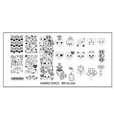bundle monster kawaii emoji nail art stamping plate u2013 love