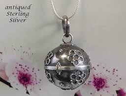 necklace ball images Harmony ball necklace antique 925 silver flowers bola necklace gif