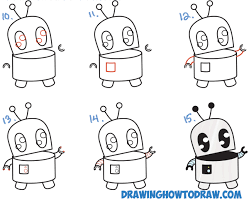 draw cute cartoon robot easy step step drawing