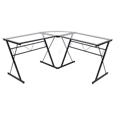 White Glass Computer Desk by L Shape Tempered Glass Computer Desk Desks Office Furniture
