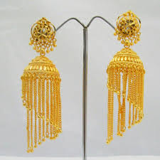 fancy jhumka earrings hanging chains gold plated jhumka earrings fancy design