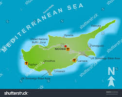 Map Of Cyprus Stylized Map Cyprus Showing Different Cities Stock Illustration