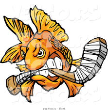 vector of a viscous cartoon goldfish biting a hockey stick while