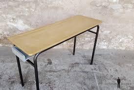 bureau bois et metal ancien d école 2 places bois et métal gris clair