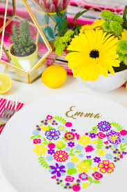 Summer Table Decorations Diy Floral Plate Place Setting For Your Colourful Wedding Table