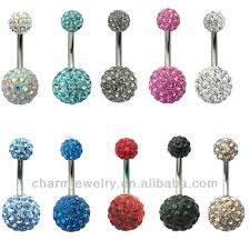 crystal belly rings images Crystal disco ball ferido double ball belly bar navel belly ring jpg