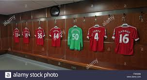 soccer shirts in manchester united dressing room old trafford
