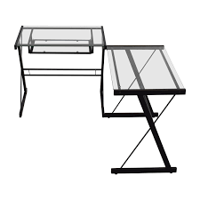Black Metal And Glass Computer Desk by 52 Off Glass Top Trestle Table With Metal Base Tables