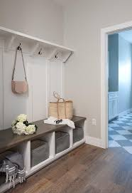 entryway bench with hooks and storage diy entryway bench oak wood floors accent gray walls highlighting a white built in